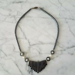 Hematite Necklace Dark Gray Choker Vintage 90s Natural Stone Necklace  Anthracite Color Retro Jewelry Around the Neck Hippie Necklace Boho